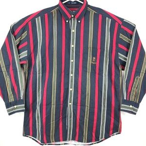 Vtg 90s Chaps Ralph Lauren Men Crest Striped Shirt